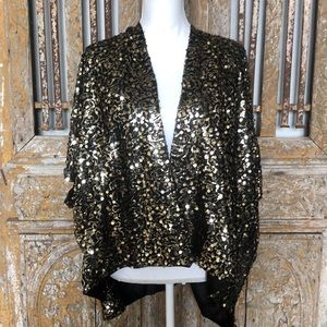 MARCUS ADLER NY Gold Sequin Jacket Wrap One Size